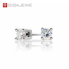 GIGAJEWE Earrings Moissanite Diamond Gold-Plated 925-Silver Total 18K Round Gift Test-Passed