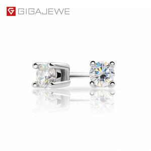 Image 1 - GIGAJEWE EF Round Cut Total 0.2ct Diamond Test Passed Moissanite 18K Gold Plated 925 Silver Earrings Jewelry Girlfriend Gift