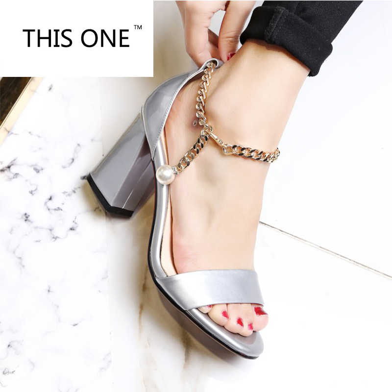THIS ONE NEW 2018 Women Sandals Patent Leather Sandals New Leather Chains Buckle High Heels Sandals Dress Wedding Shoes Woman