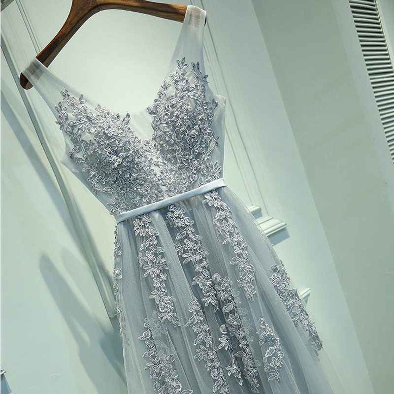 HJZY-A03#Host A Party Dress Toast To The Bride Marry Long Korean Lace Dresses Gray 2019 New Bridesmaid Dresses Wholesale Cheap