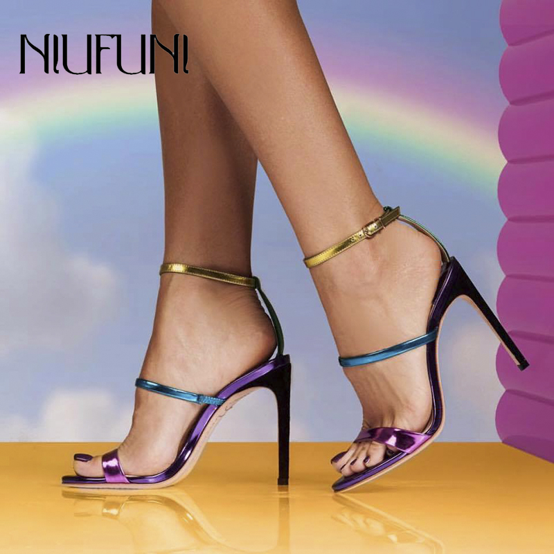 Fashion Rainbow Color Peep Toe Women 39 s Sandals 2019 Summer Belt Buckle Stiletto High Heels Women Shoes Casual Ladies Shoes in High Heels from Shoes