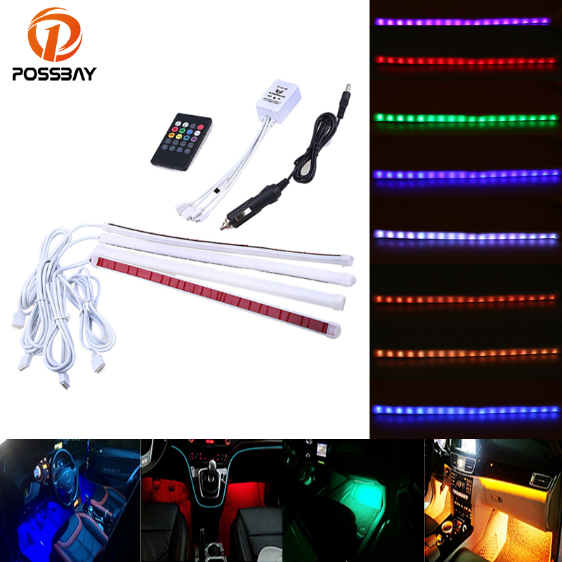 POSSABY 4Pcs Multi Color Car Interior Light Strip LED Atmosphere Light Ambient Lighting DC12V Music Remote Control Neon Lamp image