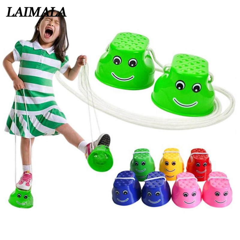 Children Outdoor Fun Toys Balance Training Tools Smiley Face Printed Jumping Stilts Shoes Walker Toy Fun Sport Toys For KIds