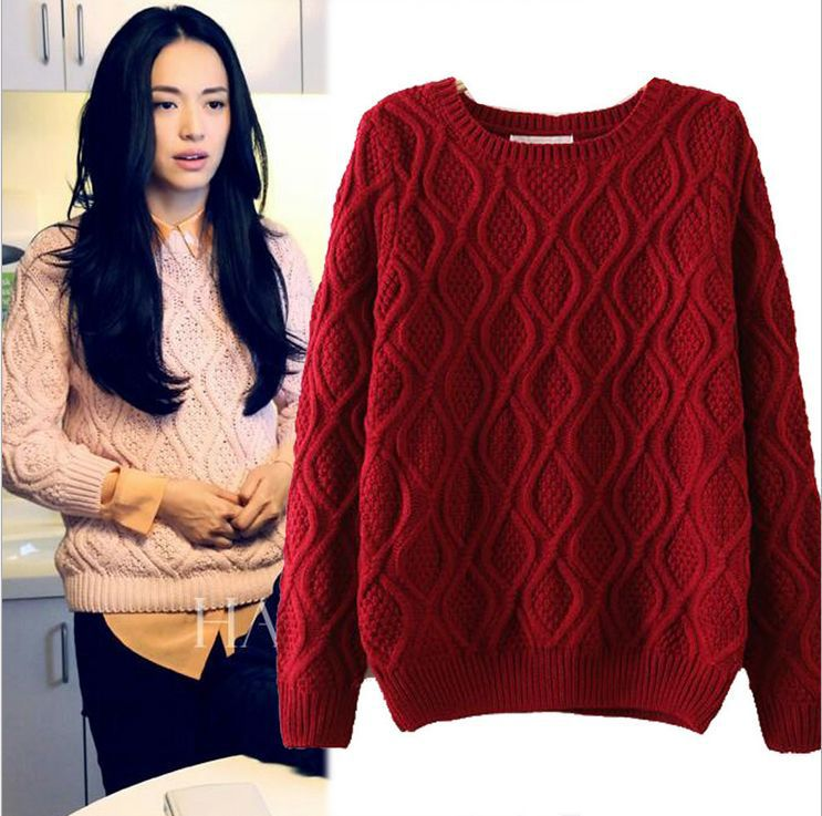HCBLESS 2017 winter new European and American women new twist o-Neck sweater long-sleeved Hedging Loose Pullover Casual Sweater