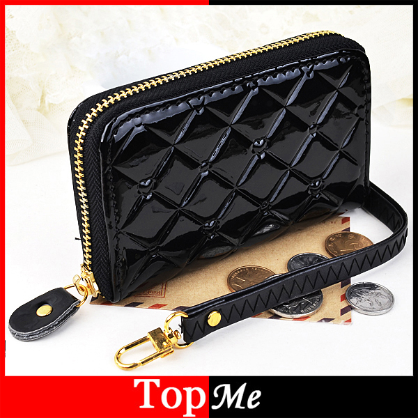 Fashion Women Zipper Short Wallets Candy Colors Patent PU Leather  Money Keys Bags Lady Plaid Coin Purse Wristlets Wallet Burse