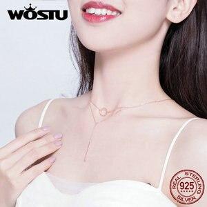 Image 5 - WOSTU แท้ 925 เงินสเตอร์ลิงเรขาคณิตสร้อยคอแฟชั่น Simple & วงกลมน่ารักปรับสร้อยคอผู้หญิง CTN078