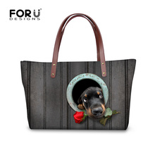 Forudesigns frauen handtaschen niedlichen hund dackel muster dame crossbody bbag für reise frauen designer grau sac ein haupt bolsos mujer