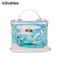 Women Plastic Messenger Handbag Transparent Laser Handbag Clutch Shoulder Crossbody Bag Chain Bag Clear Bag Evening