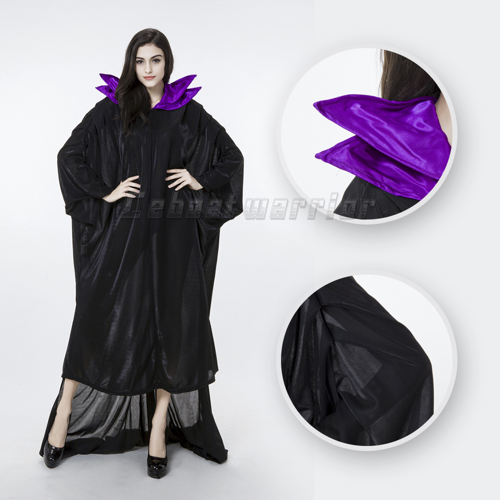 Movie Maleficent cosplay Costume Dress sleeping curse Witch Halloween Party Black Magic for adults