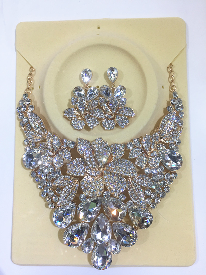 do dower 2017New Full Crystal Necklace and Earrings Sets for Women Party Wedding Jewelry Sets Gold Bridal Jewelry Sets XN-G002