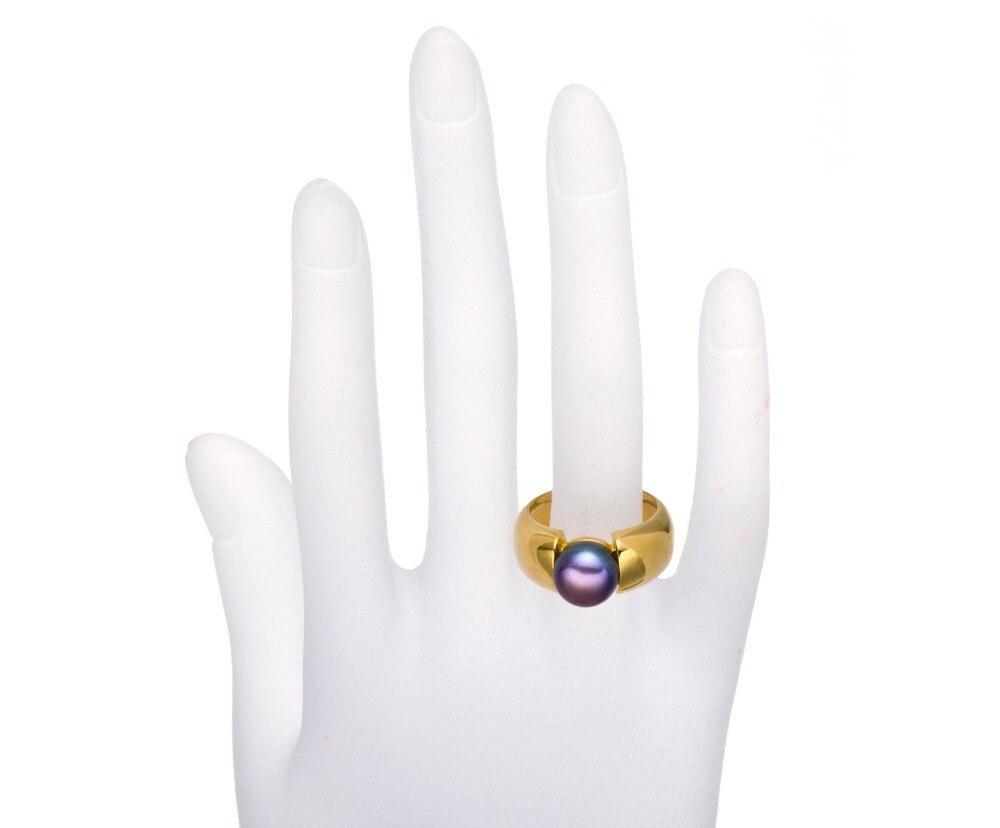 Hutang noir violet perle de culture d'eau douce (9-9.5mm) anneaux solide 925 bague en argent Sterling pour les femmes Fine élégante bijoux cadeau - 5