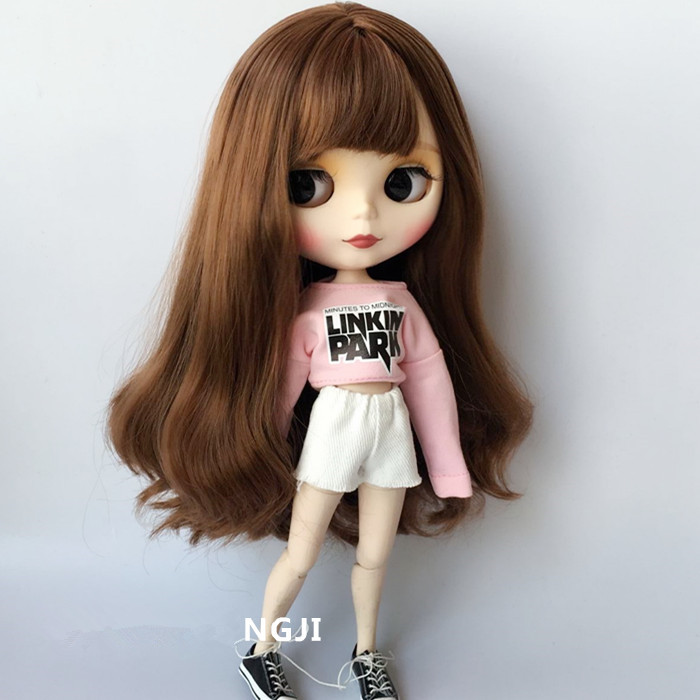 2pcs/set Blyth Doll Clothes Casual Pink T-shirt + Denim Shorts Clothes Pullip Clothing For 1/6 Doll Accessories For Barbie Doll