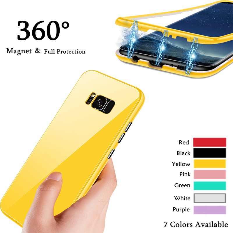 360 Protection complète aimant étui pour samsung Galaxy S7 edge S8 S9 Plus étui magnétique Adsorption étui à lunettes pour Note 9 8 Coque