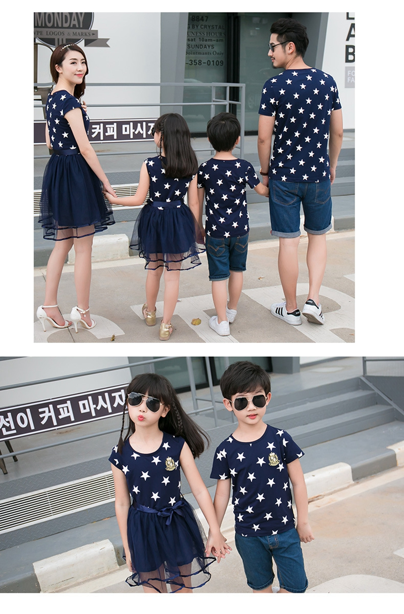 HTB1IVFsae6sK1RjSsrbq6xbDXXa5 - Summer Cotton Family Matching Outfits Mom And Daughter Mesh Dress Dad Son Blue White Stars Short T-shirt Children Clothing