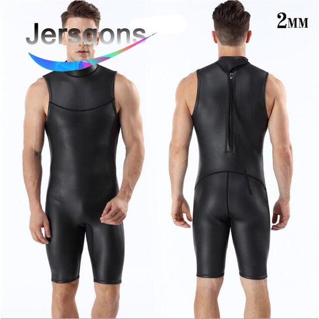 f5cf878ef3616 Jersqons Men 2mm Sleveeless Short Pants Smooth Skin Neoprene Triathlon Suit  Wetsuit Diving Suits Swimsuit