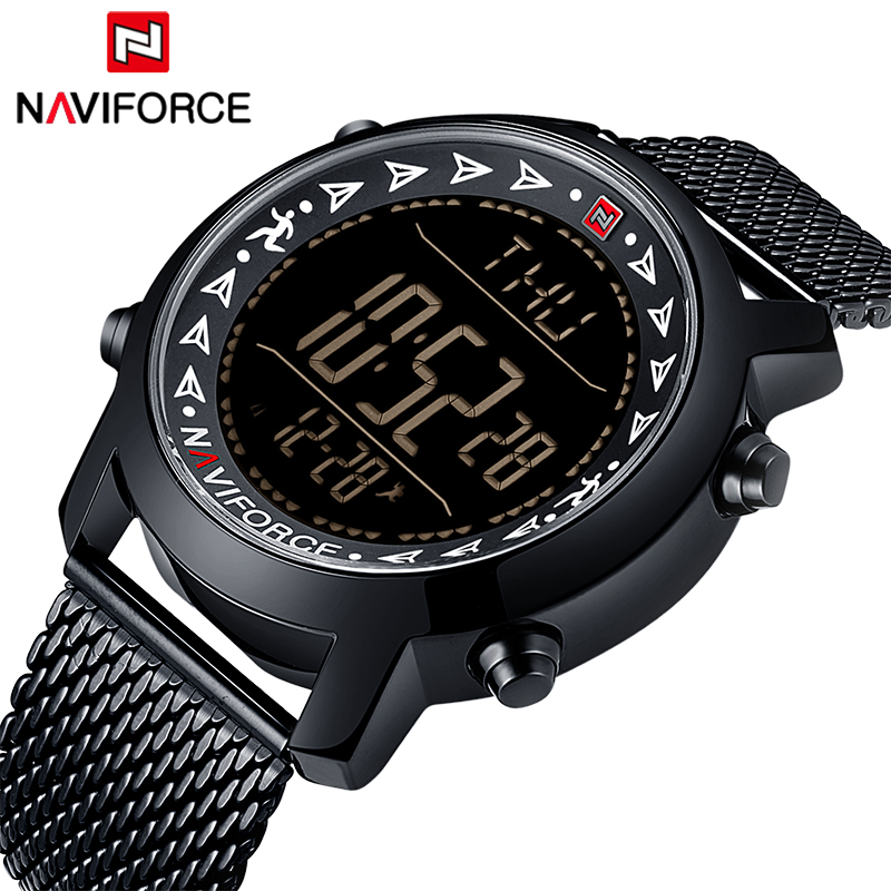 New NAVIFORCE Brand Men Fashion Sport Watches Full Steel Strap Waterproof Watch LED display Digital Wristwatch Male Casual Clock