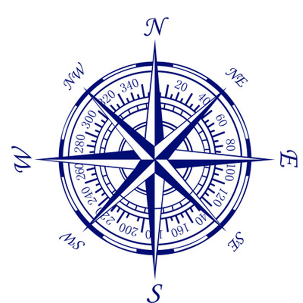 Compass nautical compass rose wall art stickers decals for Deco mural stickers