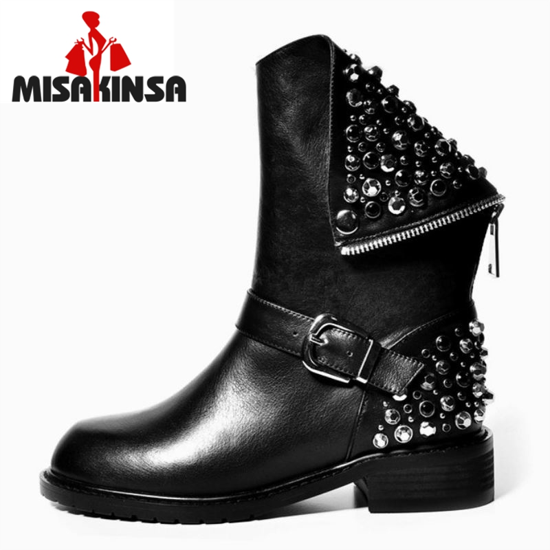 Real Genuine Leather Boots Rivet Square Heels Autumn Winter Knee Boots Sexy Martin Fur Snow Boots Shoes Woman Size 34-39 rizabina genuine leather boots rivet square heels autumn winter ankle boots sexy martin fur snow boots shoes woman size34 39