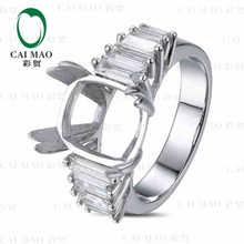 CaiMao Cushion cut Semi Mount Ring Settings & 1.25ct Diamond 18k White Gold Gemstone Engagement Ring Fine Jewelry