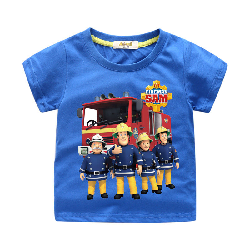 32254ff3c933a FIREMAN SAM Kids Summer Clothes Sets Cartoon Printed T-Shirt+ Pants Kids  Boys Clothing 2 PCS Clothing Sets Children Suit