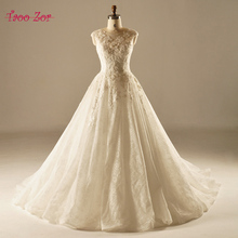 Taoo Zor Vintage Ivory A-Line Wedding Dress 2017 China Bridal Gown Chapel Voile Train Real Photo Beaded Flowers Robe De Mariage