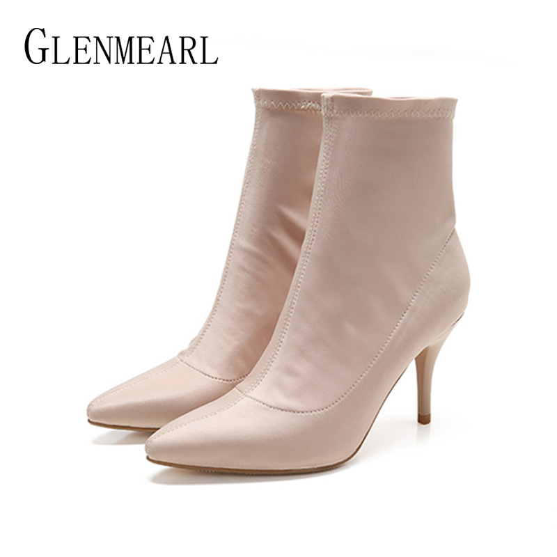 Women Boots Winter Shoes High Heels Stretch Fabric Ankle Boots Woman Slip On Fashion Brand Female Shoes Pointed Toe Plus Size DE enmayer shoes woman supper high heels ankle boots for women winter boots plus size 35 46 zippers motorcycle boots round toe