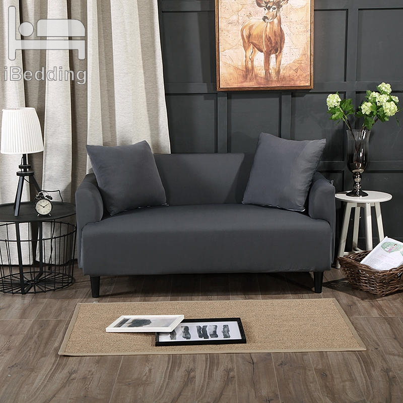 Dark Gray Solid Color Stretch Sofa Protector Cover For