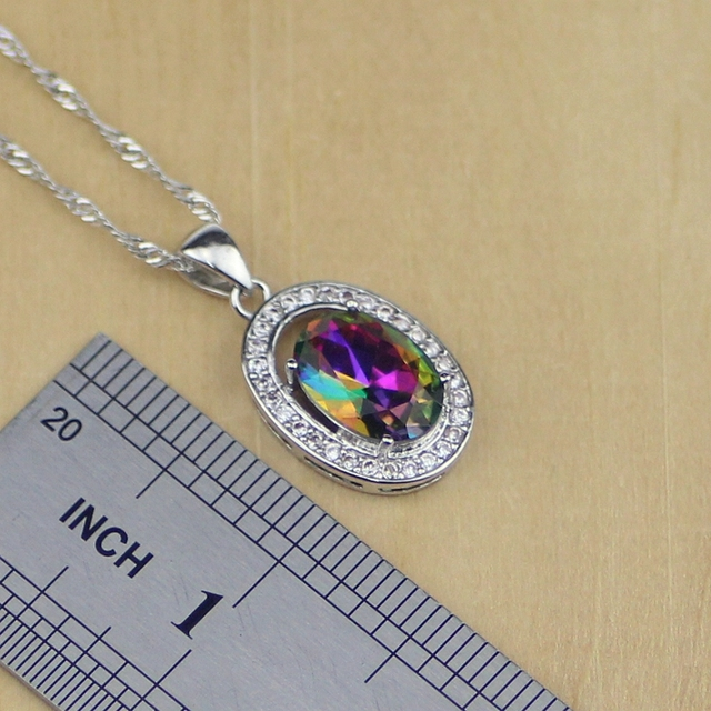 Round Mystic Rainbow Fire Cubic Zirconia Jewelry Sets Women 925 Sterling Silver Jewelry Earrings/Pendant/Necklace/Rings