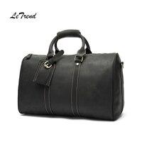 LeTrend Бизнес натуральная кожа сумка Винтаж Многофункциональный Для мужчин сумочку ретро тележка сумки на плечо роскошные Cabin Чемодан