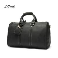 LeTrend Business Genuine Leather Travel Bag Vintage Multifunction Men's Handbag Retro Trolley Shoulder Bags Luxury Cabin Luggage