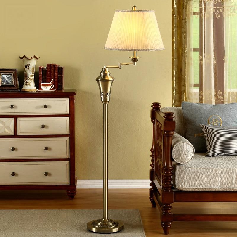 High Quality American Retro Copper Metal Fabric Led E27 Floor Lamp For Living Room Bedroom Hotel H 153cm Ac 80-265v 1066 цена