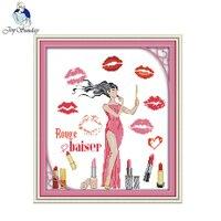 Vreugde Zondag DIY borduurpakketten handgemaakte handwerken De vrouw wereld-lipstick patronen rose Cross-Stiksels schilderijen