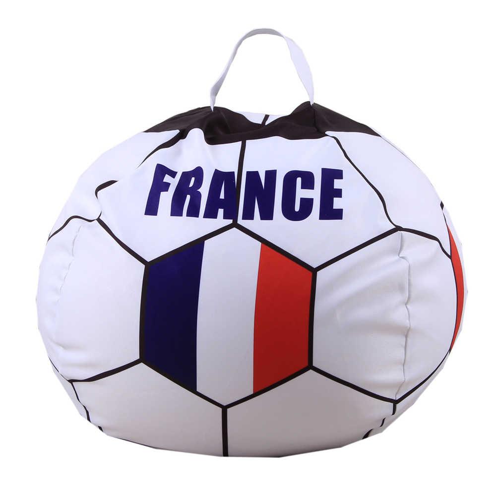 b4c94f89311 ... Football Shape Bag Stuffed Animal Storage Bean Bag Chair Kids Clothes  USA france soccer cup Toy ...