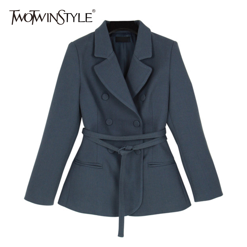 TWOTWINSTYLE Lace Up Blazer Female Lapel Collar Long Sleeve High Waist Plaid Slim Coats For Women 2018 Spring Casual Clothing