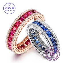 ФОТО round couple rings crystal zircon spinel vintage antique band rings for women fine jewelry blue & red rings 925 sterling silver