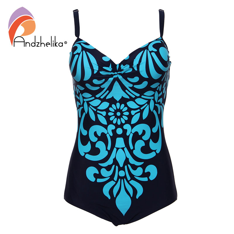 Andzhelika Plus Size Swimwear 2017 One Piece Swimsuit Newest Floral printing Bodysuit Bathing Suits Swim suits Monokini 3XL-6XL one piece swimsuit cheap sexy bathing suits may beach girls plus size swimwear 2017 new korean shiny lace halter badpakken