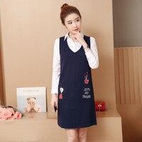 New Plus Size Autumn Women dress In Long False Pencil Dresses Navy 7886