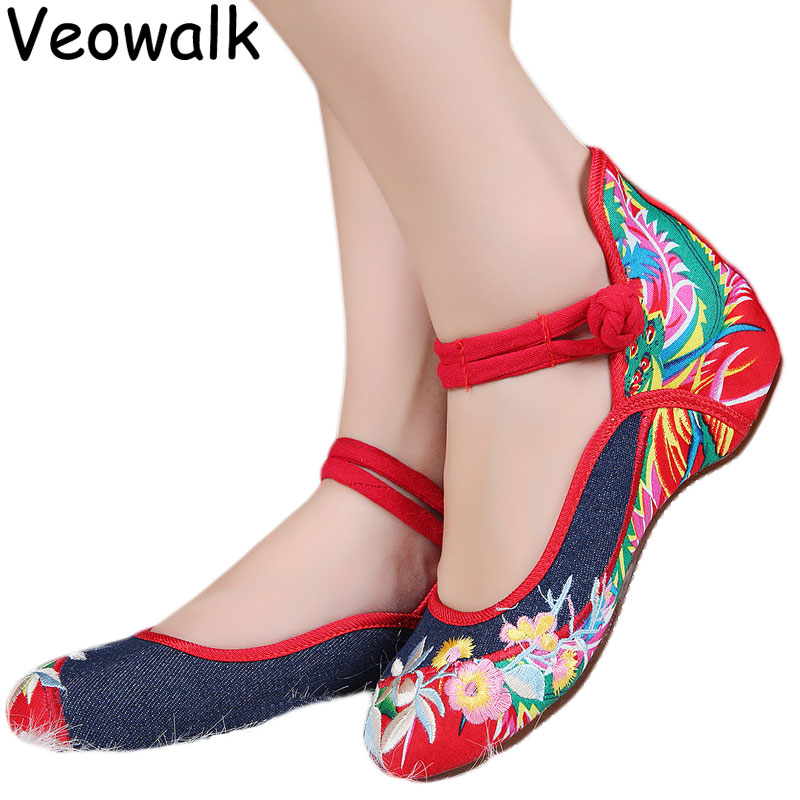 bfe69583440 Veowalk Big Size 43 Woman Shoes Chinese Style Casual Old Peking Mary Jane  Flats Women Soft Sole Flower Embroidered Denim Shoes