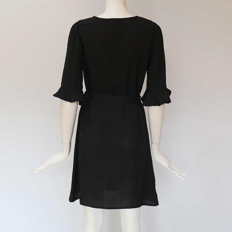 Летнее платье 2019 элегантные расширяющиеся к низу рукава сплошное платье квадратный вырез женские платья сексуальное, обтягивающее, бандаж дамские вечерние платья