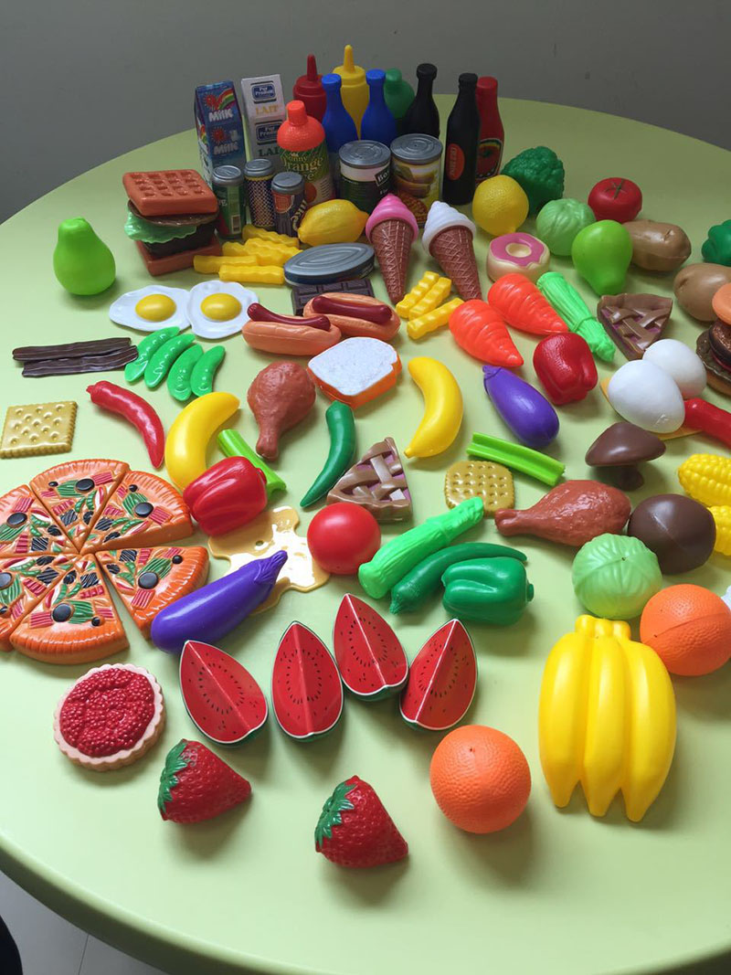 120pcs Funny Kitchen Toy Simulation Cutting Fruits Vegetables Food Seasoning Plastic Toy ...