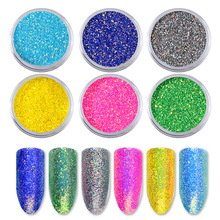 6pcs/set DIY Holographic Laser Nail Powder Charm Candy colors Glitter Decorations Art Dust Designs