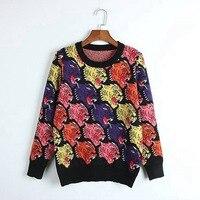 JOYDU Wool Pullover 2018 Designer Winter Sweater Women Wolf Head Pattern Jersey Knit Sweaters Jumper Stylish Knitwear casaco