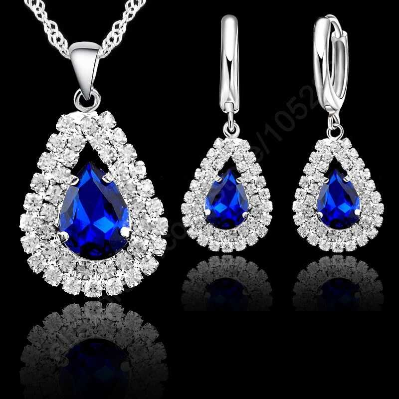 "Jewelry Sets Blue 925 Sterling Silver Crystal Pendant Necklace 18"" Chain Hoop Earring Lever Back Women Gift Accessories"