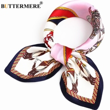 BUTTERMERE 100% Real Silk Scarf Women Print Brand Office Ladies Pure Square Female Spring Summer Neckerchief 53*53cm
