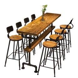 Промышленный стиль ретро барный стол Кофейня твердая деревянная стена высокие барные столы