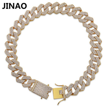 JINAO Hip Hop Jewelry Cuban Chain Iced Out Chain Bling Three Row Cubic Zircon Necklace Micro PaveLink Chain Statement Necklace