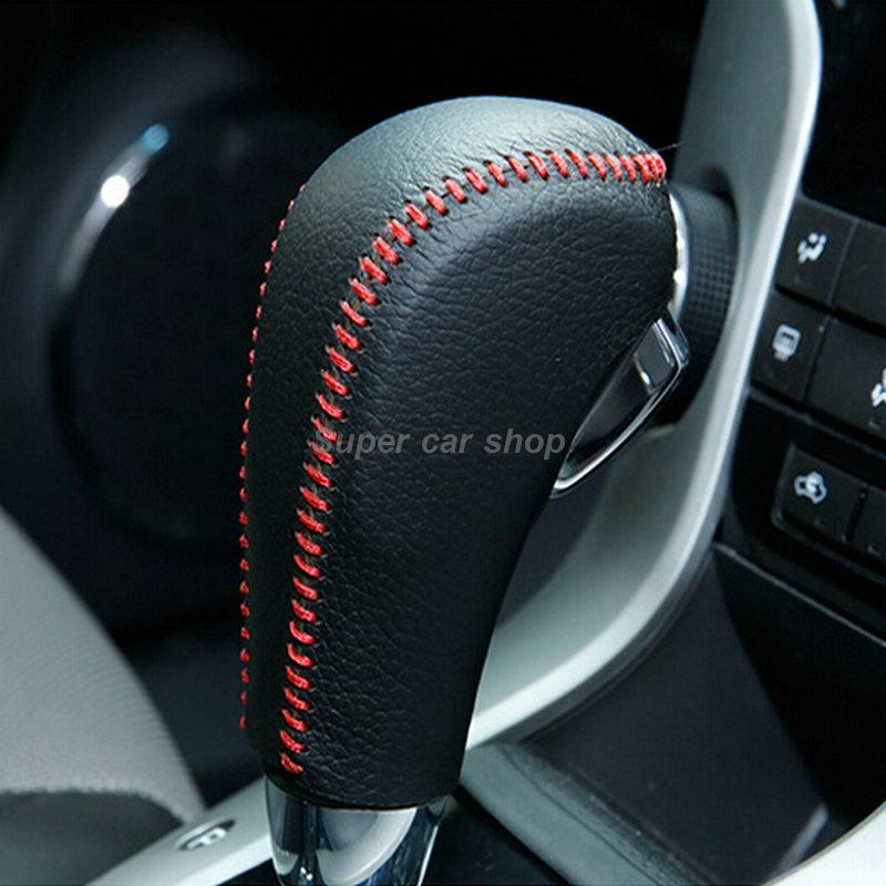 Automatic Car Special Hand-stitched Black Leather Gear Shift Knob Cover for Chevrolet Cruze Captiva 2013 2014 2015 diy hand stitched black red genuine leather car steering wheel cover for honda new fit city jazz 2014 2015 hrv hr v 2016