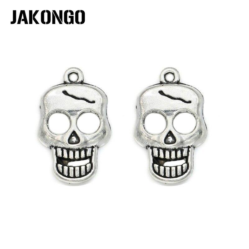 0d291c1dd4ad JAKONGO plata antigua plateado cráneo esqueleto encantos colgantes joyería  hallazgos accesorios hacer la pulsera de ajuste DIY 24x15mm