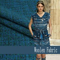 Free Shipping Yarn Dyed Peacock Blue Woolen Fabric For Coat