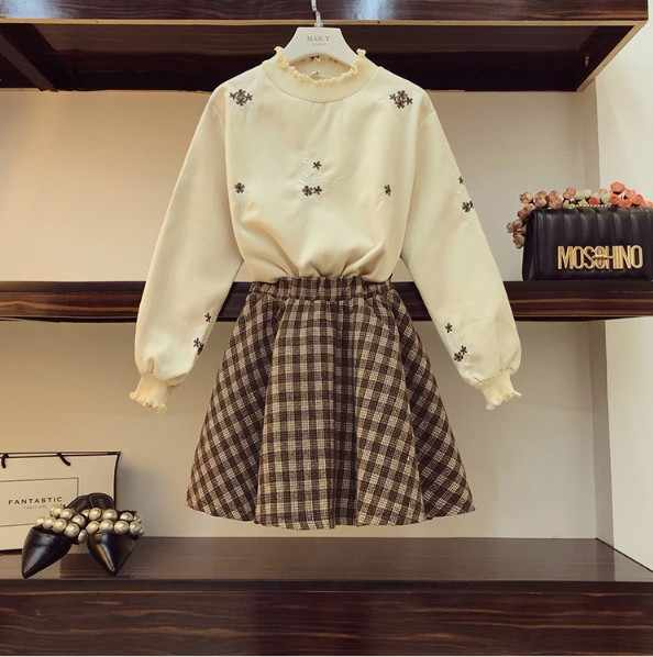 a11216fec38 2019 New spring and Autumn Women Flower Embroidery Long Sleeve Shirt +  Short Plaid Skirts Two